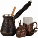 DEMMEX Turkish Greek Coffee Set for 1 with Engraved Copper Pot