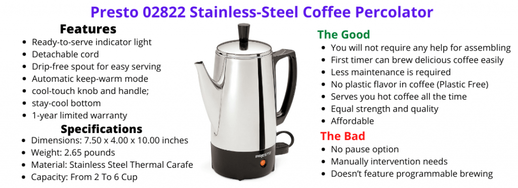 Presto 02822 Review -Best Stainless-Steel Coffee Percolator
