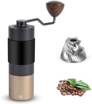 HEIHOX Hand Coffee Grinder with Adjustable Conical Stainless Steel Burr Mill